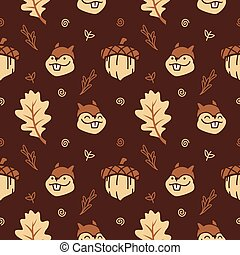 cute cartoon squirrel with nuts and autumn leaf seamless pattern vector background