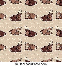 Cute cartoon stag and doe seamless pattern. Cute doe animal ...