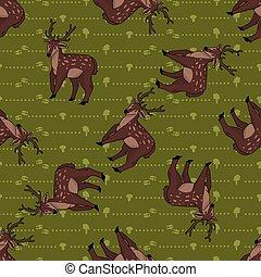Cute cartoon stag deer seamless pattern. Cute doe animal ...
