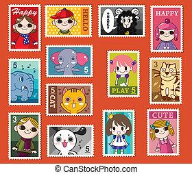 cute cartoon stamps