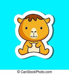 Cute cartoon sticker little camel logo template. Mascot animal character design of album, scrapbook, greeting card, invitation, flyer, sticker, card. Vector stock illustration.