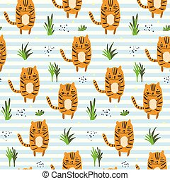 Cute cartoon striped pattern with tigers