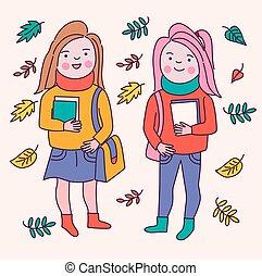 Cute cartoon students characters