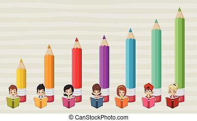 Cute cartoon students children reading books