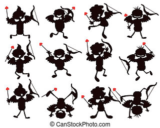 cute cartoon style of cupid silhouettes