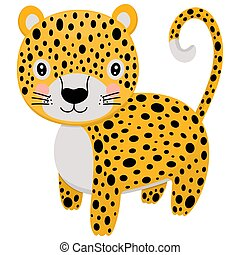 Cute cartoon stylized leopard. A single illustration of a wild animal living in the jungle on a white background. Vector.