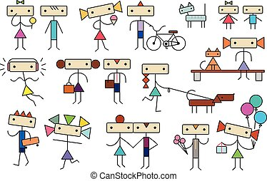 Cute cartoon stylized teens kids people characters...
