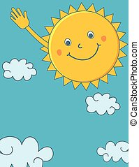 Cute cartoon sun waving hand