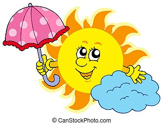 Cute cartoon Sun with umbrella - isolated illustration.