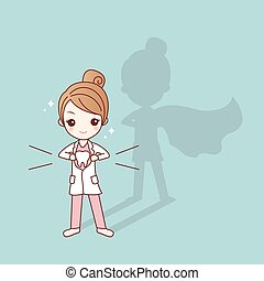 cute cartoon super dentist doctor, great for health dental care concept