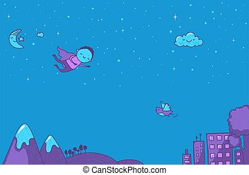 Cute cartoon superhero flying at night