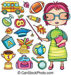school doodle icons - Cute cartoon teacher and school doodle...