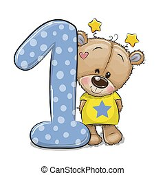 Cartoon Teddy Bear and number one isolated on a white background