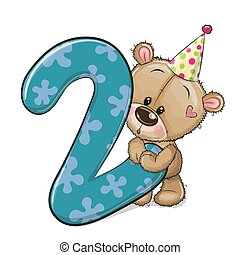 Cartoon Teddy Bear and number two isolated on a white background
