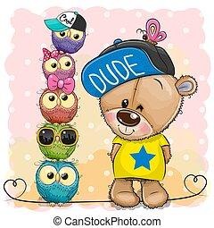 Cartoon Teddy Bear and owls on a pink background