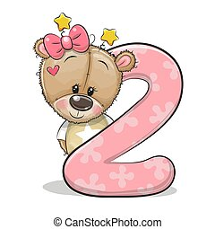 Cartoon Teddy Bear Girl and number two isolated on a white background