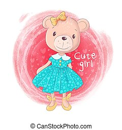 Cute Cartoon Teddy Bear Girl on a pink background