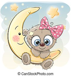 Cute Cartoon Teddy Bear girl