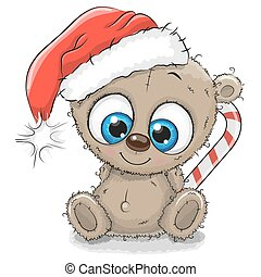 Cute Cartoon Teddy Bear in a Santa hat