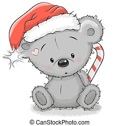 Bear in a Santa hat