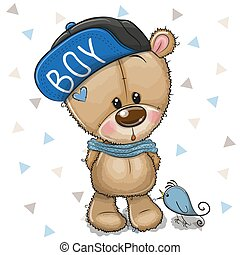 Cute Cartoon Teddy Bear in cap on a white background