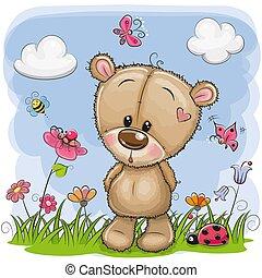Cute Cartoon Teddy Bear on a meadow