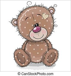 Cute Cartoon Teddy Bear on a white background