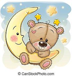 Cute Cartoon Teddy Bear on the moon
