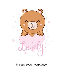 Cute cartoon Teddy bear, vector illustration