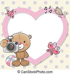 Teddy Bear with a camera and a heart frame