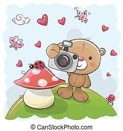 Cute cartoon Teddy Bear with a camera