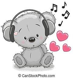 Bear with headphones - Cute cartoon Teddy Bear with ...