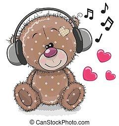 Cute cartoon Teddy Bear with headphones