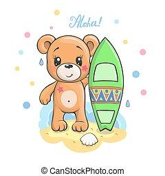 Cute cartoon Teddy bear with surfboard vector illustration