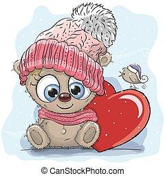 Cute Cartoon Teddy in a knitted cap
