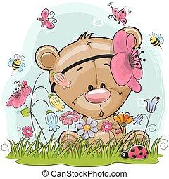 Cute Cartoon Teddy on a meadow