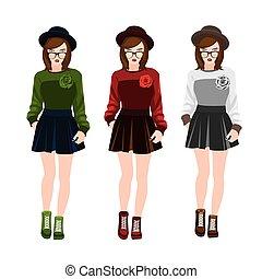 cute cartoon teenage girls