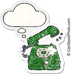 cute cartoon telephone and thought bubble as a distressed worn sticker