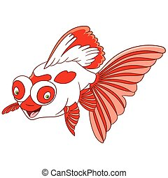 cute cartoon telescope goldfish - cute lovely and happy...