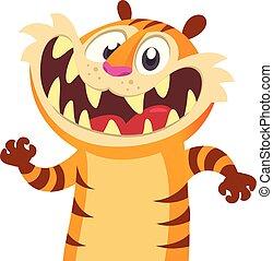 Cute cartoon tiger character.