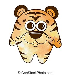 Cute cartoon tiger isolated on white background. Vector illustration in sketch style. Stylized watercolor. EPS 10