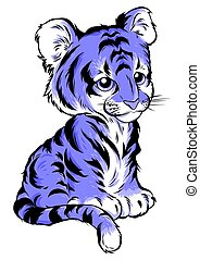 Cute cartoon tiger vector illustration isolated on white background.