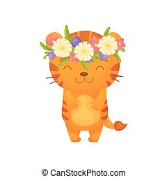 Cute cartoon tiger. Vector illustration on white background.