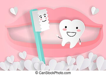 cute cartoon tooth and brush