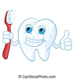 Cute cartoon tooth and toothbrush