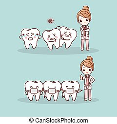 cute cartoon tooth braces with dentist doctor, great for health dental care concept