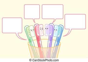 tooth brush with speach bubble