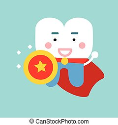 Cute cartoon tooth character as superhero, dental vector Illustration for kids