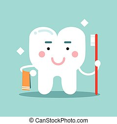 Cute cartoon tooth character brushing and holding towel, dental vector Illustration for kids
