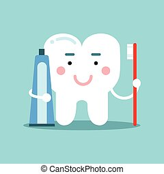 Cute cartoon tooth character brushing with toothpaste, dental vector Illustration for kids